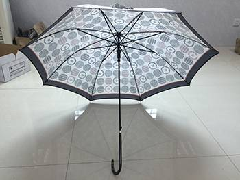 Auto Straight Iron Black Plated Umbrella