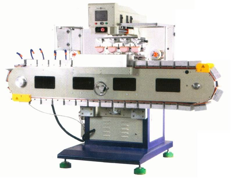 SPCCST-848VD1L Automatic 4 color pad printer with vertical conveyor & auto pad cleaning device