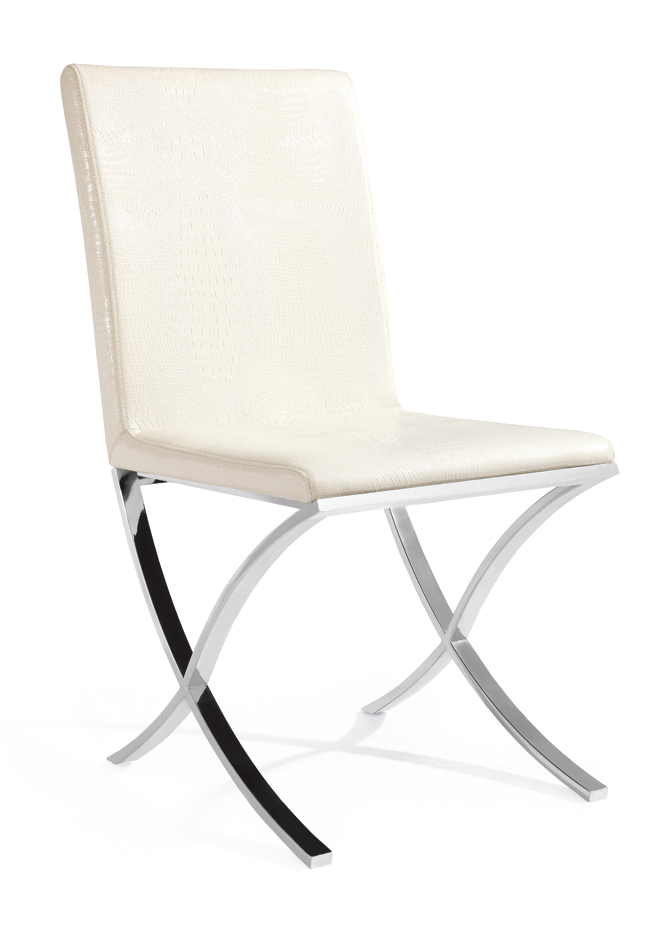 SHIMING FURNITURE MS-3211 White seated stainless steel foot dinning chair