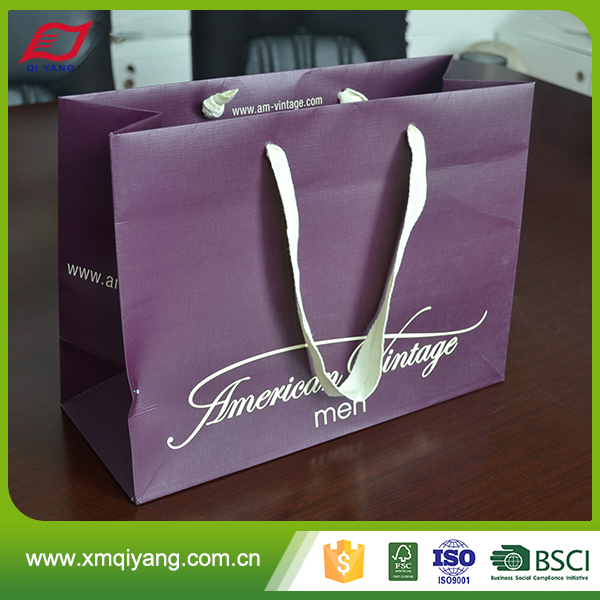 High quality CMYK printed large square bottom paper bag with custom logo