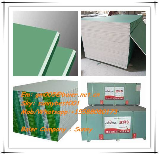 Waterproof Gypsum Board/Plaster Board (CE, SGS, ISO grade)