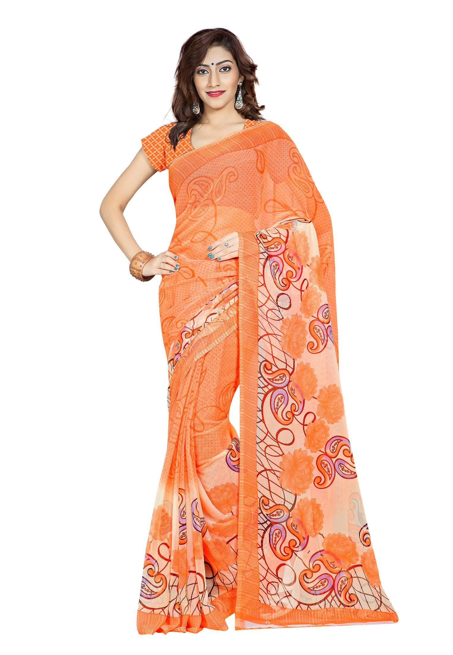 Ambaji Casual Wear Orange Colored Printed Chiffon Saree/Sari