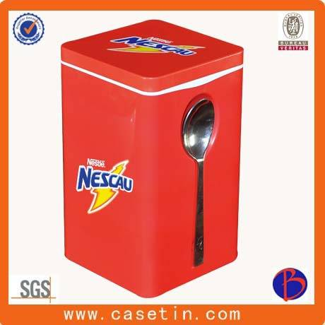 OEM food grade metal square tea packaging tin box with spoon