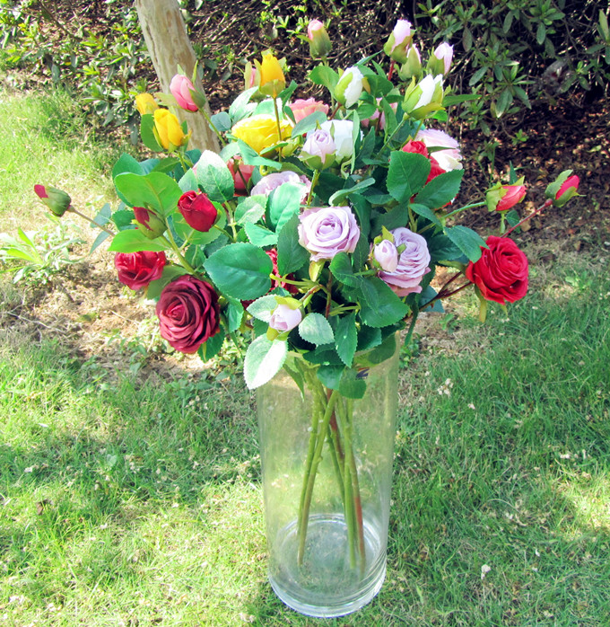 Beautiful Fake Artificial Flower Silk Rose Wedding Home Decoration Gift
