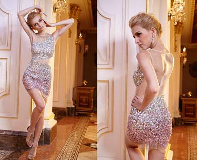 AA82394 luxurious see-through back hot-fix stone sheer short body fitted cocktail dress