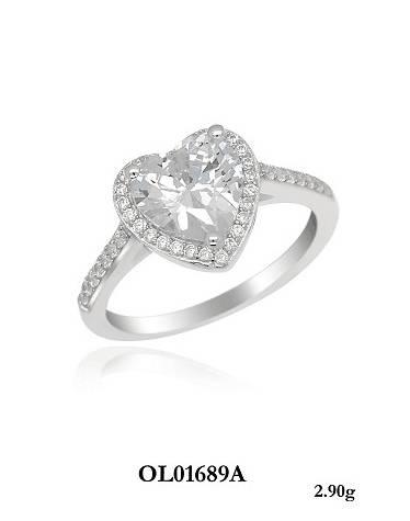 heart shape romantic silver ring gift