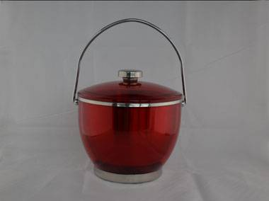 stainless steel and plastic ice bucket with handle