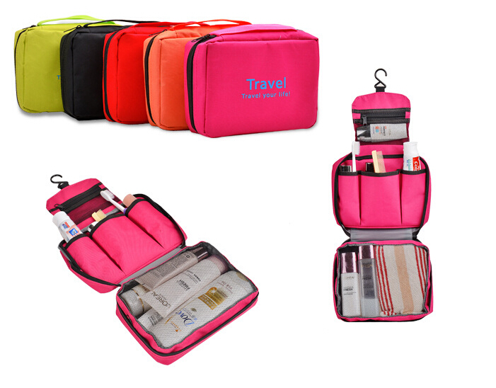 US Market Foldable Travel Wash Toiletry Bag with Mesh Pockets and Hanger