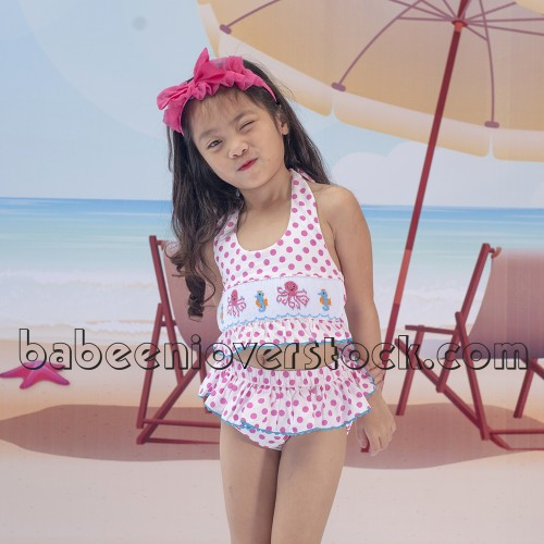 Adorable octopus and seahorse smocked swimwear for girl - BB991