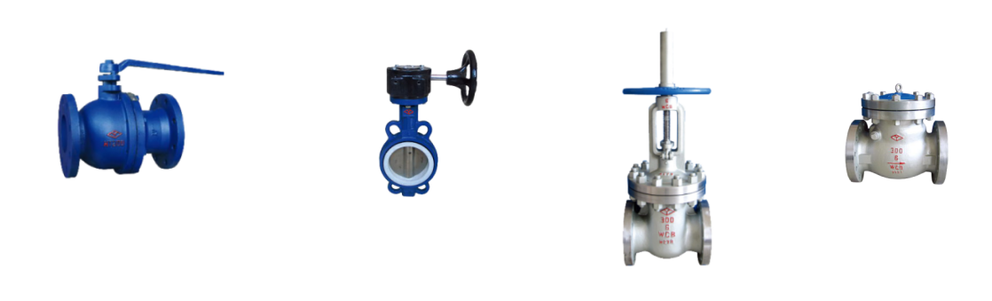 gate valves, globe valves, ball valves, butterfly valves, check valves
