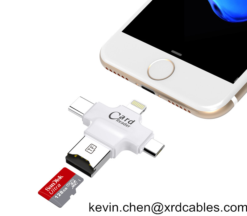 4in1 OTG USB memory Card Reader Micro SD TF type c for Android/Iphone 7 6 plus