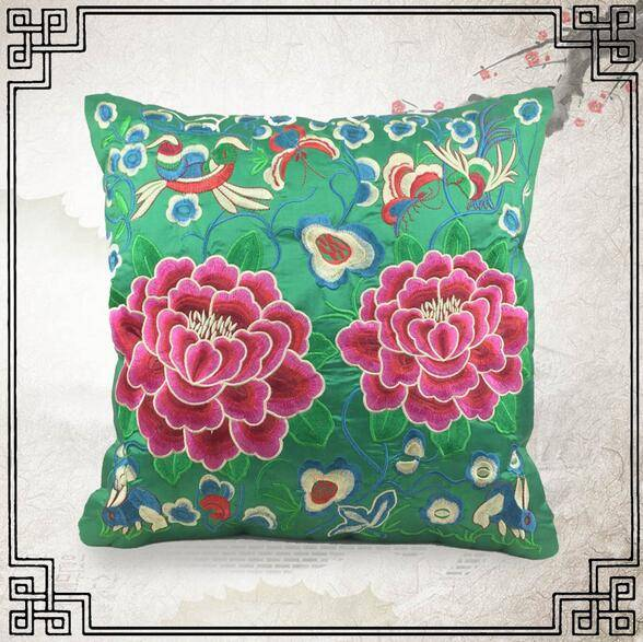 Peony Embroidery Cushion Cover
