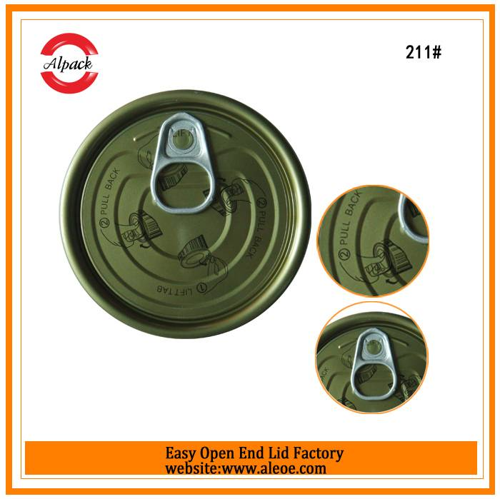 EOE 211/65mm tinplate partial open Lube can easy open lid manufacture