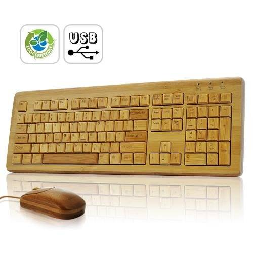 Natural Bamboo Keyboard and Mouse Combo