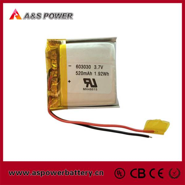 CE/ROHS/UL Approved Rechargeable 603030 3.7v 520mah li-polymer battery with PCM