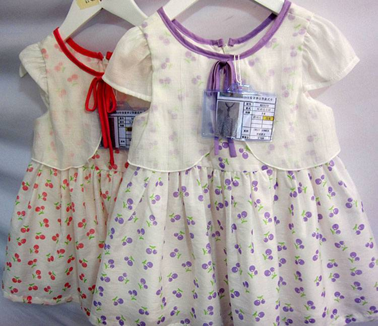Printed Cotton Cap Sleeve Cute Baby Girls Casual Dresses MY327