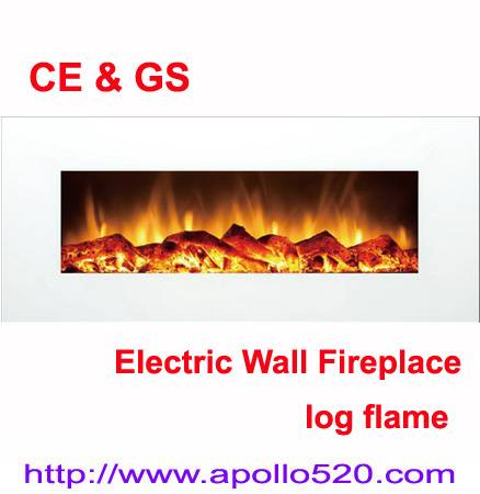 White Wall Mounted Wall Hanging Electric Fireplace with Remote