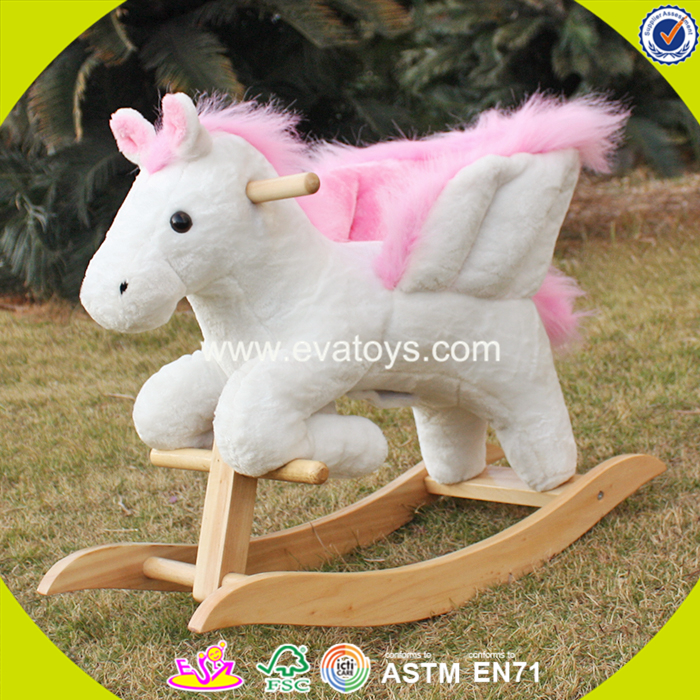 2017 new design toddlers pink wooden plush rocking horse W16D072