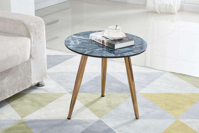 Round Marble Effect Beech Wood Legs Sofa Side Table