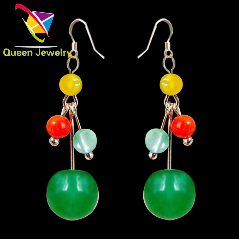 paparazzi jewelry wholesale natural gemstone colorful Chinese jade earring high-end lady's