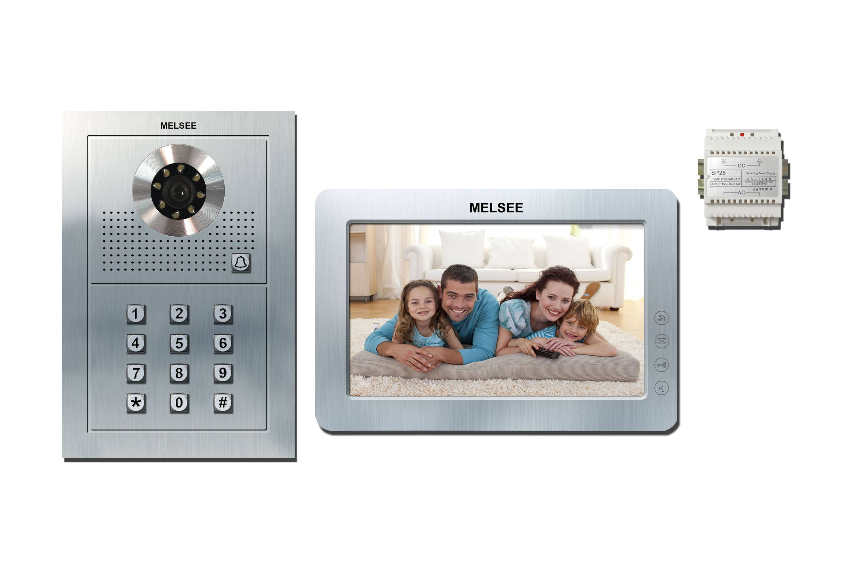 7 Inch TFT-LCD indoor monitor 4 backlit touch button auto taking photo 1000pcs visitors picture memo