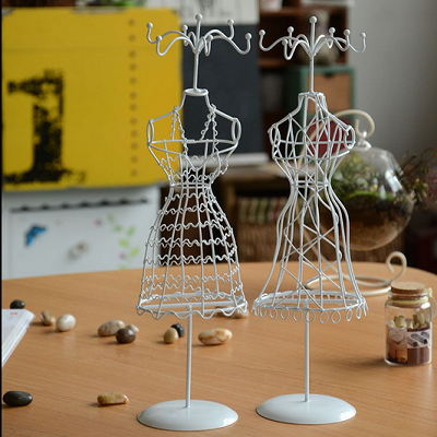 Wrought Iron Mannequin Jewelry Stand Necklace Earring Display Rack Holder