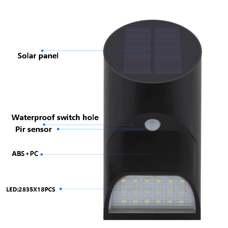 Waterproof led wall mounted solar motion sensor garden security light