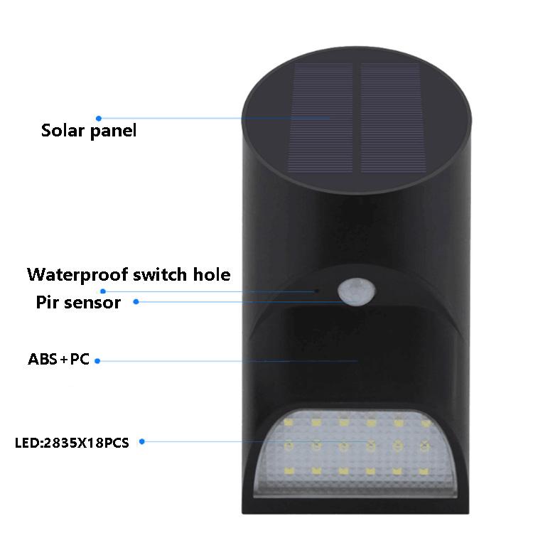 Waterproof led wall mounted solar motion sensor garden security light
