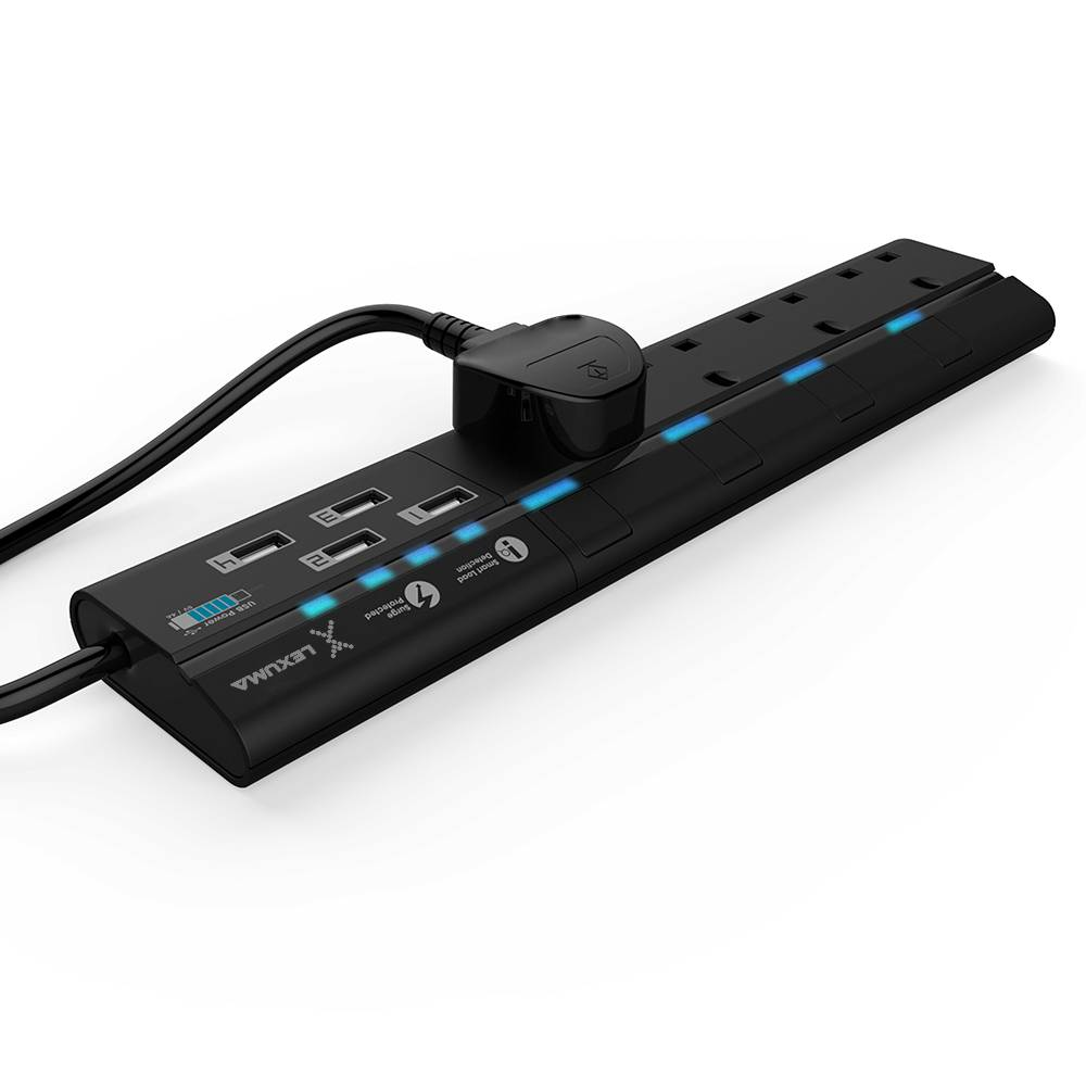 Lexuma XSTRIP 4 Gang Surge Portected Power Strip with USB, BS Certified 2M 4 Way Extension Lead with