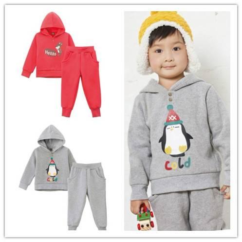 Wholesale Unisex kids' cotton sets hoodies and trousers boy leisure wear suits
