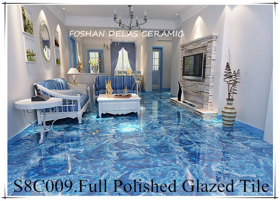 S8C009 Ocean Sky Blue Grainte Design Glazed Porcelain Tile