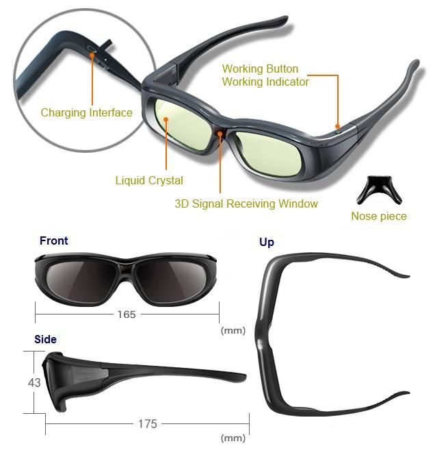 Active Shutter 3D Glasses for Sumsam / Sony / Panasonic / Sharp 3D TV