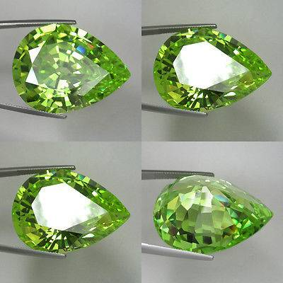Machine Cut CZ Stone Apple Green Pear Cubic Zirconia