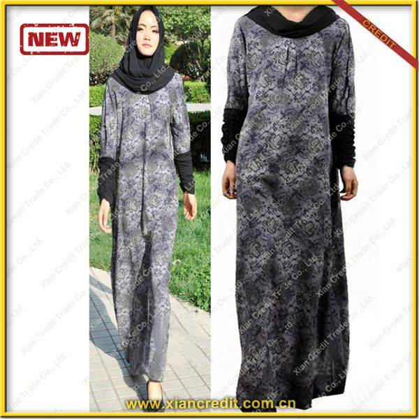 2014 Newest muslim women abaya made of Two face cotton tencel prints  P001-2