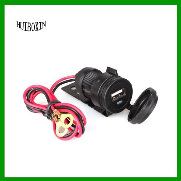 Black 12V Motorcycle Handlebar USB Charger Power Adapter