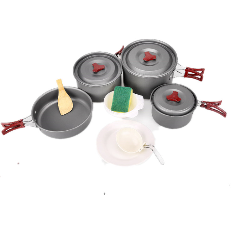 Hard-anodized aluminium cooking pot set