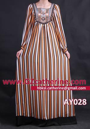 Elegant Beaded Stripe Baju Kurung Kaftans