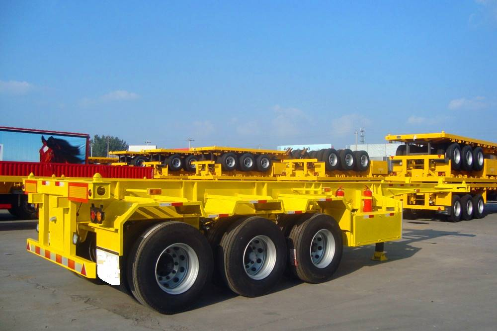 The superior durable 3 Axles 40 ft Skeleton Trailer and 20 ft Container Chassis Skeleton Semi Traile