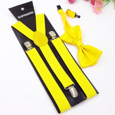 Mens Braces and Bow tie Sets Unisex Men and Women Adjustable Suspenders Clips Black