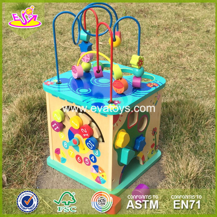 2017 New fashion 5 in 1 baby wooden activity cube toddlers best design wooden activity cube kids