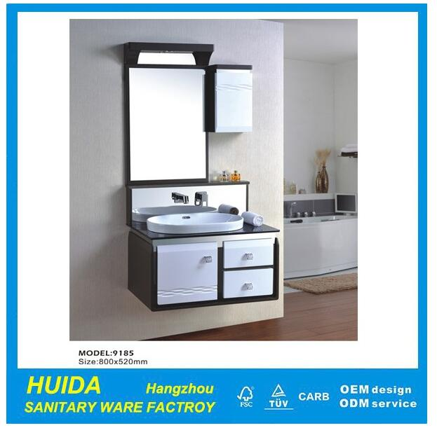 Chinese supplier under cabinet LED light glass top wall hanging bath cabinet unit