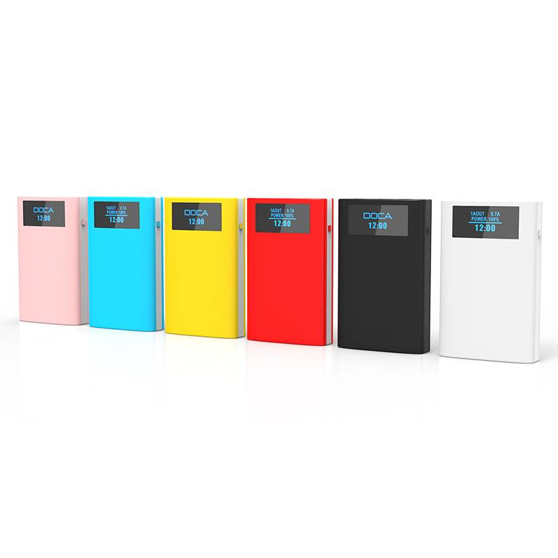 DOCA D563 10000mah power bank showing time and Alarm function