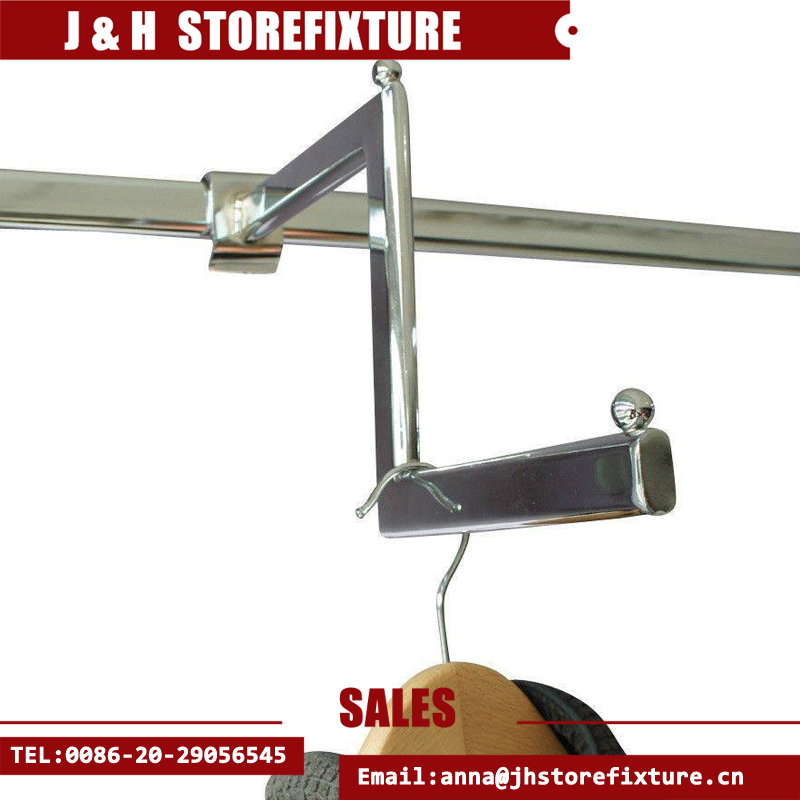 Hanging rail stepped clothes display arm / clothes rail