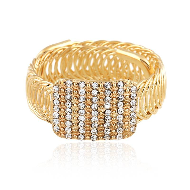 Fashion Women Gold Alloy Crystal Wide Bracelet Bangle