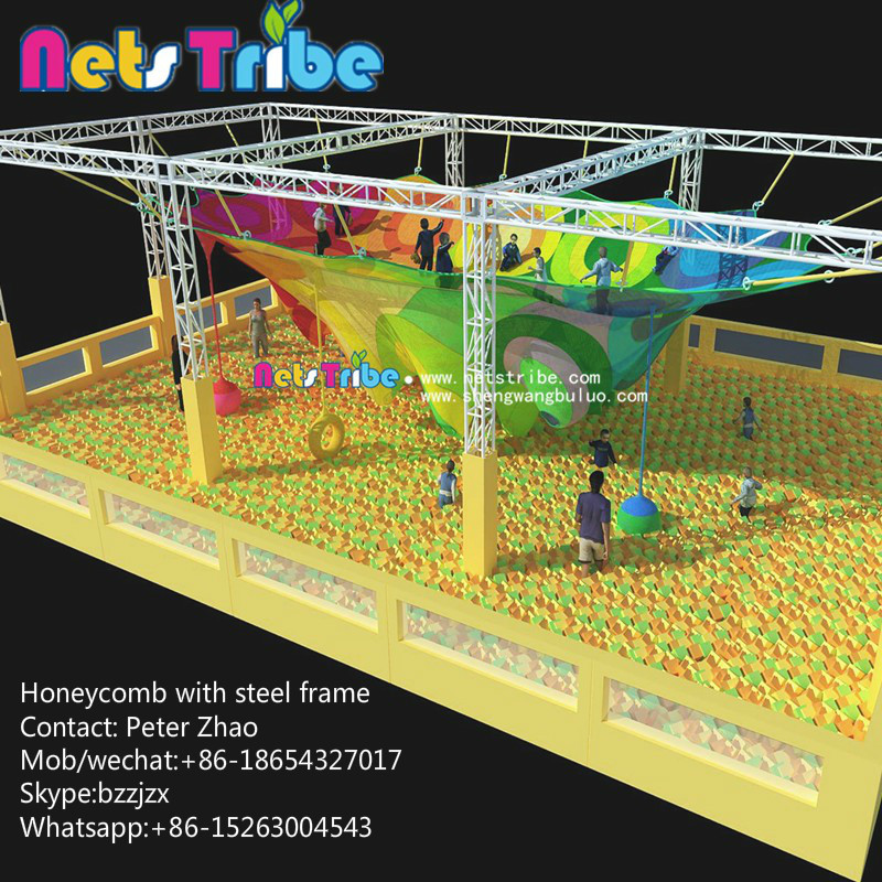 High cost performance products, polyester fiber rope climbing net honeycomb indoor playground