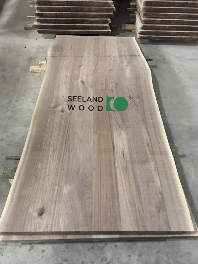 American black walnut table top (multi-planks) with live edge