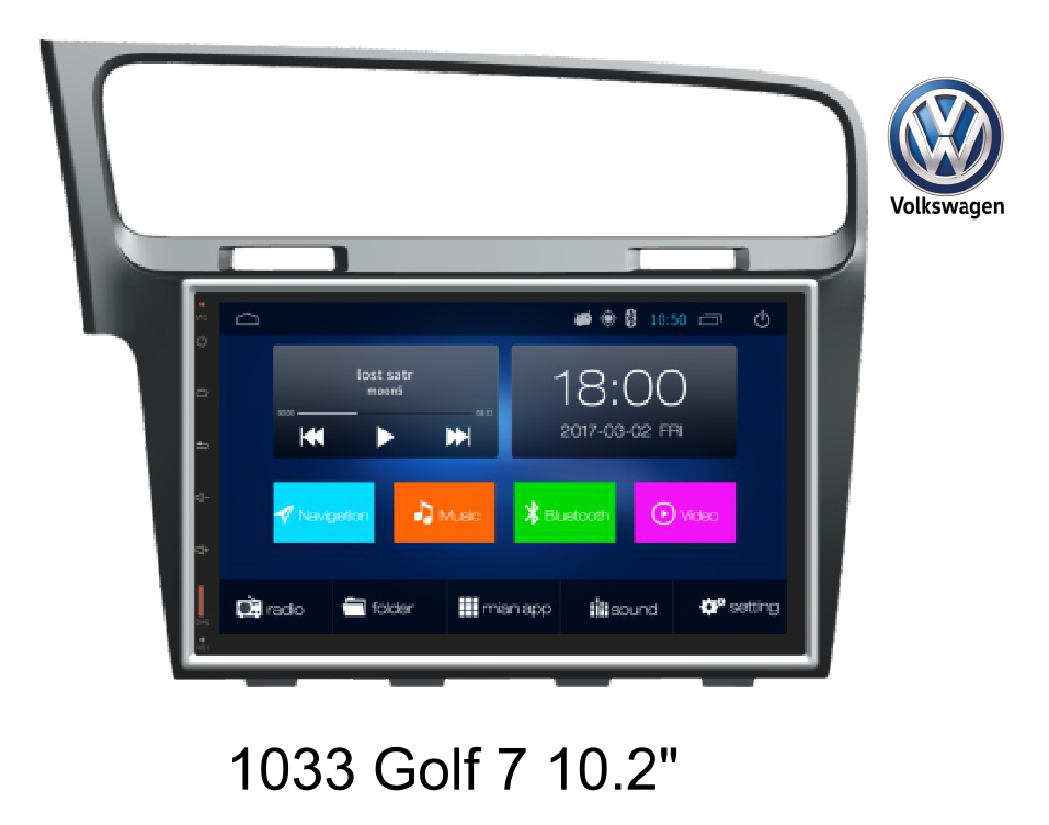 102'' VW Golf7 car GPS navigation, android system, 4G/BT/HD/AM/FM/TV
