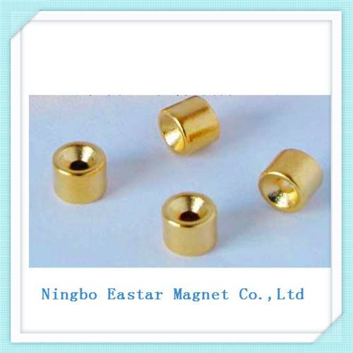 Gold Plating N35 Neodymium Permanent Magnet with Cup Shape