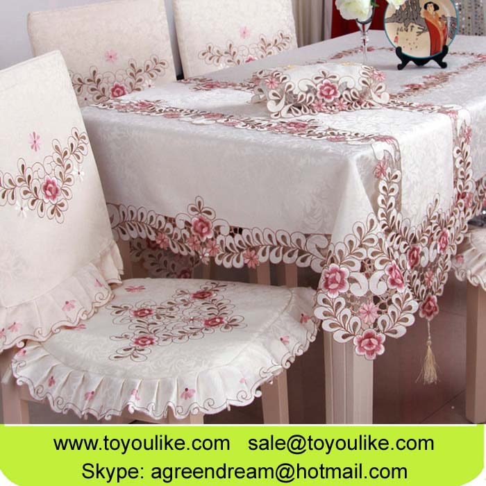 Toyoulike Jacquard Embroidery Table Cloth Handmade Cutwork Home Decorative Table Cover Chair Cushion