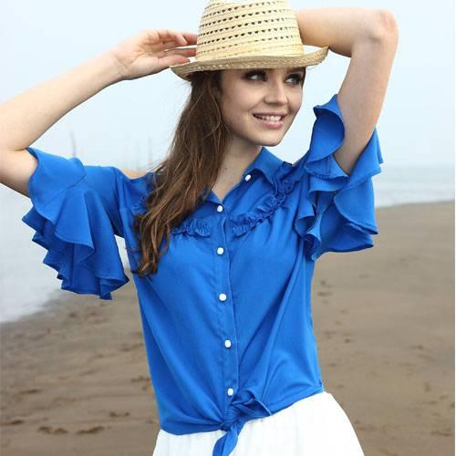 Ladies Fashion Chiffon Ruffle Sleeves Off Shoulder Blouse/Woman Tops (S129002)